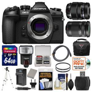 Olympus OM-D E-M1 Mark II Micro 4-3 Digital Camera Body with 12-40mm f-2.8 and 40-150mm Lenses and 64GB Card and Case and Flash and Battery and Tripod Kit