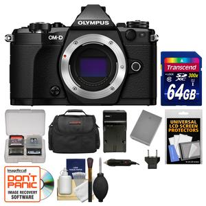 Olympus OM-D E-M5 Mark II Micro 4-3 Digital Camera Body-Black-with 64GB Card and Case and Battery and Charger and Kit