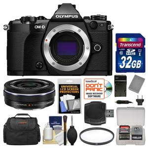 Olympus OM-D E-M5 Mark II Micro 4-3 Digital Camera Body-Black-with 14-42mm EZ Lens and 32GB Card and Case and Battery-Charger and Filter and Kit