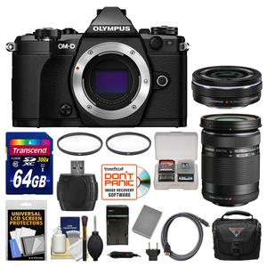 Olympus OM-D E-M5 Mark II Micro 4-3 Digital Camera Body-Black-with 14-42mm EZ and 40-150mm Lenses and 64GB Card and Case and Battery-Charger and Kit
