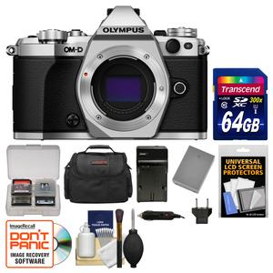 Olympus OM-D E-M5 Mark II Micro 4-3 Digital Camera Body-Silver-with 64GB Card and Case and Battery and Charger and Kit