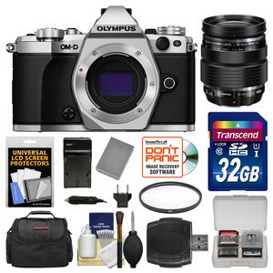 Olympus OM-D E-M5 Mark II Micro 4-3 Digital Camera Body-Silver-with 12-40mm f-2.8 PRO ED Lens and 32GB Card and Case and Battery and Charger and Filter and Kit