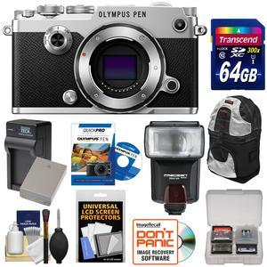 Olympus PEN-F Micro 4-3 Digital Camera Body-Silver-with 64GB Card and Battery and Charger and Backpack Case and Flash and Instructional DVD and Kit