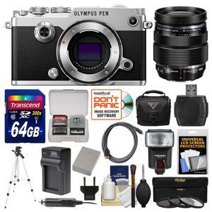 Olympus PEN-F Micro 4-3 Digital Camera Body-Silver-with 12-40mm f-2.8 PRO Lens and 64GB Card and Case and Flash and Battery and Charger and Tripod and Kit