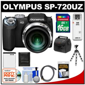 Olympus SP-720UZ Digital Camera (Black) with 16GB Card + Battery + Case + Flex Tripod + HDMI Cable + Cleaning Kit at Sears.com