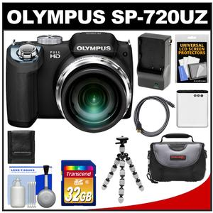 Olympus SP-720UZ Digital Camera (Black) with 32GB Card + Battery + Charger + Case + Flex Tripod + HDMI Cable + Cleaning Kit at Sears.com