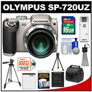 Olympus SP-720UZ Digital Camera (Silver) with 16GB Card + Battery + Case + Tripod + Cleaning Kit at Sears.com