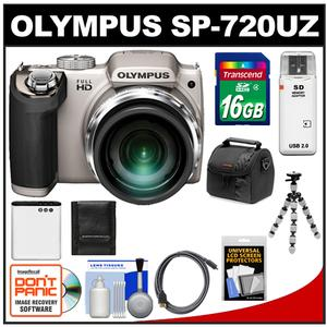 Olympus SP-720UZ Digital Camera (Silver) with 16GB Card + Battery + Case + Flex Tripod + HDMI Cable + Cleaning Kit at Sears.com
