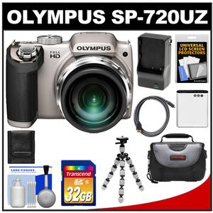 Olympus SP-720UZ Digital Camera (Silver) with 32GB Card + Battery + Charger + Case + Flex Tripod + HDMI Cable + Cleaning Kit at Sears.com