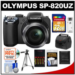 Olympus Stylus SP-820UZ iHS Digital Camera (Black) with 32GB Card + Case + Batteries & Charger + Tripod + Accessory Kit