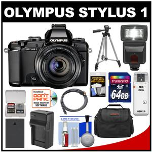 Olympus Stylus 1 Digital Camera with 28-300mm f/2.8 Lens (Black) with 64GB Card + Battery & Charger + Case + Flash + Tripod + Accessory Kit