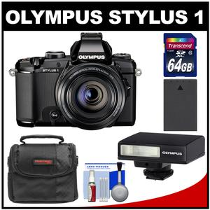 Olympus Stylus 1 Digital Camera with 28-300mm f/2.8 Lens (Black) with 64GB Card + Battery + Case + Flash + Accessory Kit