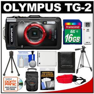 Olympus Tough TG-2 iHS Shock + Waterproof Digital Camera (Black) with 16GB Card + Case + Battery + 2 Tripods + Accessory Kit at Sears.com