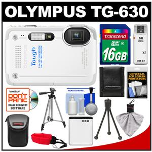 Olympus Tough TG-630 iHS Shock + Waterproof Digital Camera (White) with 16GB Card + Case + Battery + 2 Tripods + Accessory Kit at Sears.com