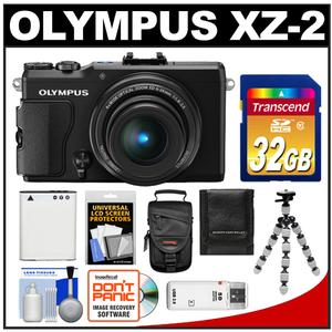 Olympus Stylus XZ-2 iHS Digital Camera (Black) with 32GB Card + Case + Battery + Tripod + Accessory Kit