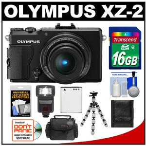 Olympus Stylus XZ-2 iHS Digital Camera (Black) with 16GB Card + Case + Battery + Tripod + Flash + Accessory Kit at Sears.com