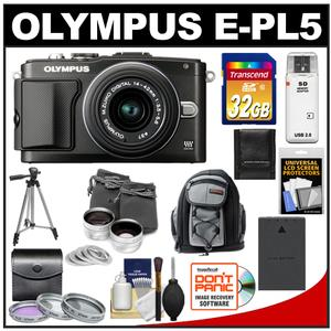 Olympus PEN E-PL5 Camera Body + 14-42mm II R Lens Black + 32GB Card + Battery + Backpack + 3 Filters + Lens Set + Tripod + Acc Kit at Sears.com