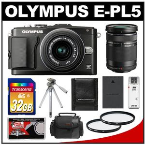 Olympus PEN E-PL5 Camera Body + 14-42mm II R Lens Black + 40-150mm ED Lens + 32GB Card + Case + Battery + Tripod + UV Filters + Acc Kit at Sears.com