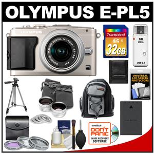 Olympus PEN E-PL5 Camera Body + 14-42mm II R Lens (Silver) + 32GB Card + Battery + Backpack + 3 Filters + Lens Set + Tripod + Acc Kit at Sears.com