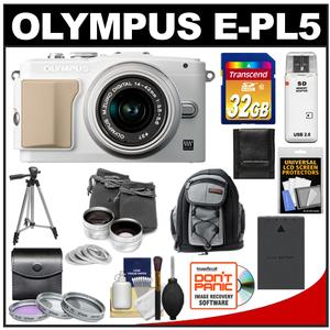 Olympus PEN E-PL5 Camera Body + 14-42 II R Lens White/Silver + 32GB Card + Battery + Backpack + 3 Filters + Lens Set + Tripod + Acc Kit at Sears.com
