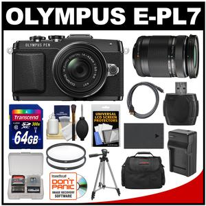 Olympus PEN E-PL7 Micro 4/3 Digital Camera & 14-42mm II R Lens (Black) with 40-150mm Lens + 64GB Card + Case + Battery & Charger + Tripod + Kit