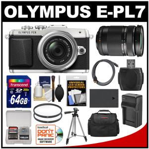 Olympus PEN E-PL7 Micro 4/3 Digital Camera & 14-42mm II R Lens (Silver) with 40-150mm Lens + 64GB Card + Case + Battery & Charger + Tripod + Kit