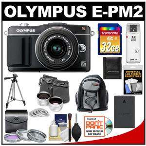 Olympus PEN E-PM2 Camera Body + 14-42mm II R Lens Black + 32GB Card + Battery + Backpack + 3 Filters + Lens Set + Tripod + Acc Kit at Sears.com