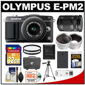 Olympus PEN E-PM2 Camera Body + 14-42mm II R Lens Black + 40-150mm Lens + 32GB Card + Case + Battery + Tripod + Filters + 2 Lens Kit at Sears.com