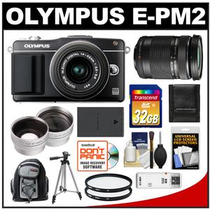Olympus PEN E-PM2 Camera Body + 14-42 II R Lens Black + 40-150 Lens + 32GB Card + Backpack + Battery + Tripod + Filters + 2 Lens Kit at Sears.com