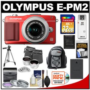 Olympus PEN E-PM2 Camera Body + 14-42mm II R Lens Red/Silver + 32GB Card + Battery + Backpack + 3 Filters + Lens Set + Tripod + Acc Kit at Sears.com