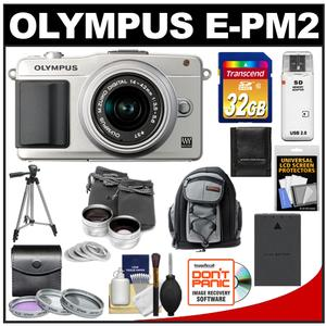 Olympus PEN E-PM2 Camera Body + 14-42mm II R Lens (Silver) + 32GB Card + Battery + Backpack + 3 Filters + Lens Set + Tripod + Acc Kit at Sears.com