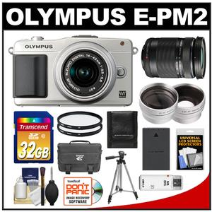 Olympus PEN E-PM2 Camera Body + 14-42mm II R Lens (Silver) + 40-150mm Lens + 32GB Card + Case + Battery + Tripod + Filters + 2 Lens Kit at Sears.com
