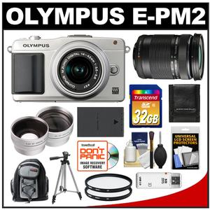 Olympus PEN E-PM2 Camera Body + 14-42 II R Lens (Silver) + 40-150 Lens + 32GB Card + Backpack + Battery + Tripod + Filters + 2 Lens Kit at Sears.com