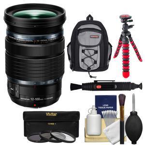 Olympus M.Zuiko 12-100mm f-4 ED IS PRO Digital Zoom Lens with Case + 3 UV-CPL-ND8 Filters + Flex Tripod + Kit