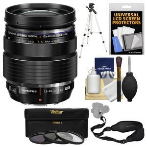 Olympus M.Zuiko 12-40mm f-2.8 PRO ED Digital Zoom Lens-Black-with 3 UV-CPL-ND8 Filters and Tripod and Sling Strap and Cleaning Kit