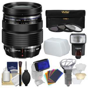 Olympus M.Zuiko 12-40mm f-2.8 PRO ED Digital Zoom Lens-Black-with 3 UV-CPL-ND8 Filters and Flash and Diffuser and Kit