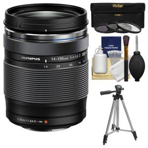 Olympus M.Zuiko 14-150mm f-4.0-5.6 II ED Digital Zoom Lens with Tripod and 3 UV-CPL-ND8 Filters and Kit