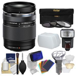Olympus M.Zuiko 14-150mm f-4.0-5.6 II ED Digital Zoom Lens with 3 UV-CPL-ND8 Filters + Flash + Diffuser + Flash Filters + Cleaning Kit