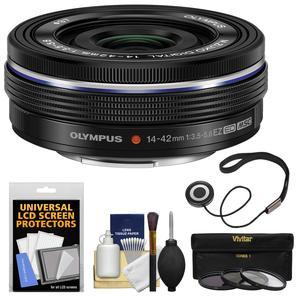 Olympus M.Zuiko 14-42mm f-3.5-5.6 EZ Digital Zoom Lens - Black - with 3 UV-CPL-ND8 Filters + Accessory Kit