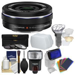 Olympus M.Zuiko 14-42mm f-3.5-5.6 EZ Digital Zoom Lens - Black - with 3 UV-CPL-ND8 Filters + Flash + Diffuser + Flash Filters + Cleaning Kit