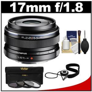 Olympus M.Zuiko 17mm f/1.8 Digital Lens (Black) with 3 UV/FLD/ND8 Filters + Accessory Kit