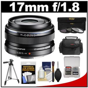 Olympus M.Zuiko 17mm f/1.8 Digital Lens (Black) with Case + Tripod + 3 UV/ND8/PL Filters + Accessory Kit