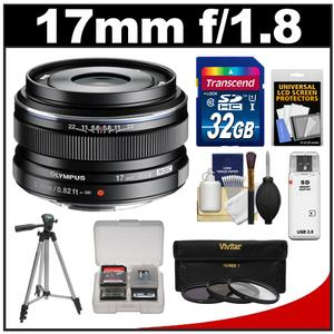 Olympus M.Zuiko 17mm f/1.8 Digital Lens (Black) with 32GB Card + Tripod + 3 UV/ND8/PL Filters + Accessory Kit