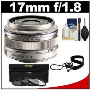 Olympus M.Zuiko 17mm f/1.8 Digital Lens (Silver) with 3 UV/ND8/PL Filters + Accessory Kit
