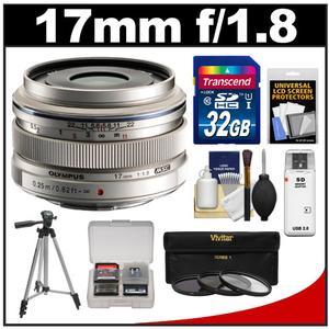 Olympus M.Zuiko 17mm f/1.8 Digital Lens (Silver) with 32GB Card + Tripod + 3 UV/ND8/PL Filters + Accessory Kit