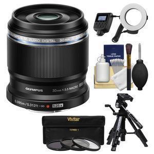 Olympus M.Zuiko 30mm f-3.5 ED Macro Lens with LED Ring Light + 3 UV-CPL-ND8 Filters + Macro Tripod + Kit