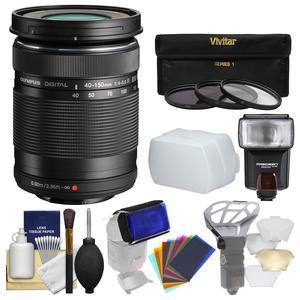 Olympus M.Zuiko 40-150mm f-4.0-5.6 R Micro ED Digital Zoom Lens - Black - with 3 UV-CPL-ND8 Filters + Flash + Diffuser + Flash Filters + Cleaning Kit