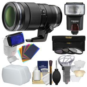 Olympus M.Zuiko 40-150mm f-2.8 Pro Digital Zoom Lens with 3 UV-CPL-ND8 Filters + Flash + Diffuser + Flash Diffusers + Cleaning Kit