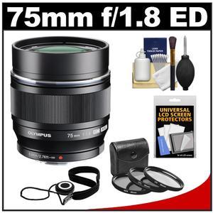 Olympus M.Zuiko 75mm f/1.8 ED MSC Digital Lens (Black) with 3 UV/CPL/ND8 Filters + Accessory Kit