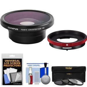 Olympus FCON-T01 Fisheye Converter Lens and CLA-T01 Adapter Ring Pack for Tough TG-3 TG-4 and TG-5 Waterproof Camera with 3 UV-CPL-ND8 Filters + Kit